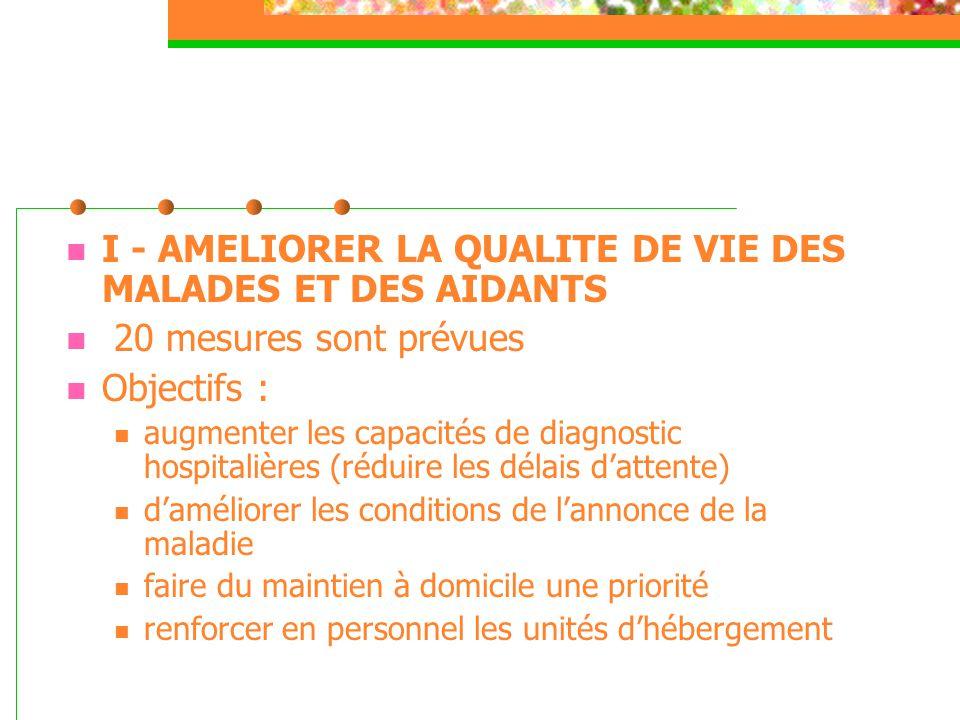  I - AMELIORER LA QUALITE DE VIE DES MALADES ET DES AIDANTS  20 mesures sont prévues  Objectifs :  augmenter les capacités de diagnostic hospitali
