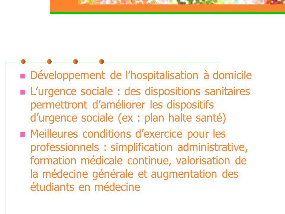  Développement de l'hospitalisation à domicile  L'urgence sociale : des dispositions sanitaires permettront d'améliorer les dispositifs d'urgence so
