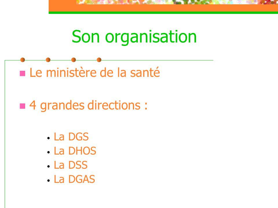 Son organisation  Le ministère de la santé  4 grandes directions : • La DGS • La DHOS • La DSS • La DGAS