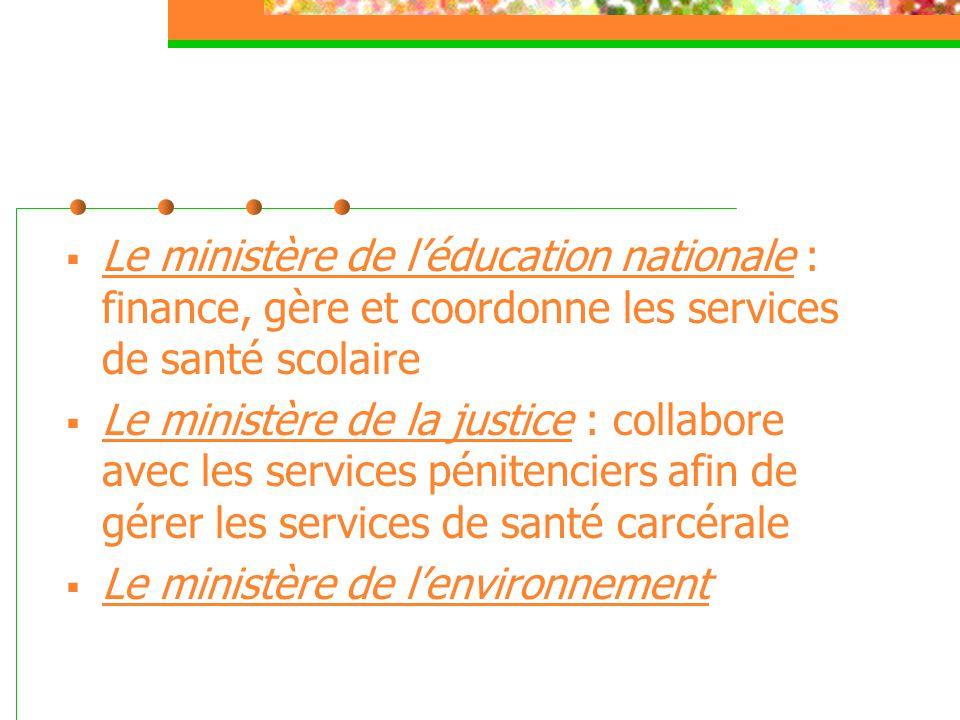 Le ministère de l'éducation nationale : finance, gère et coordonne les services de santé scolaire  Le ministère de la justice : collabore avec les