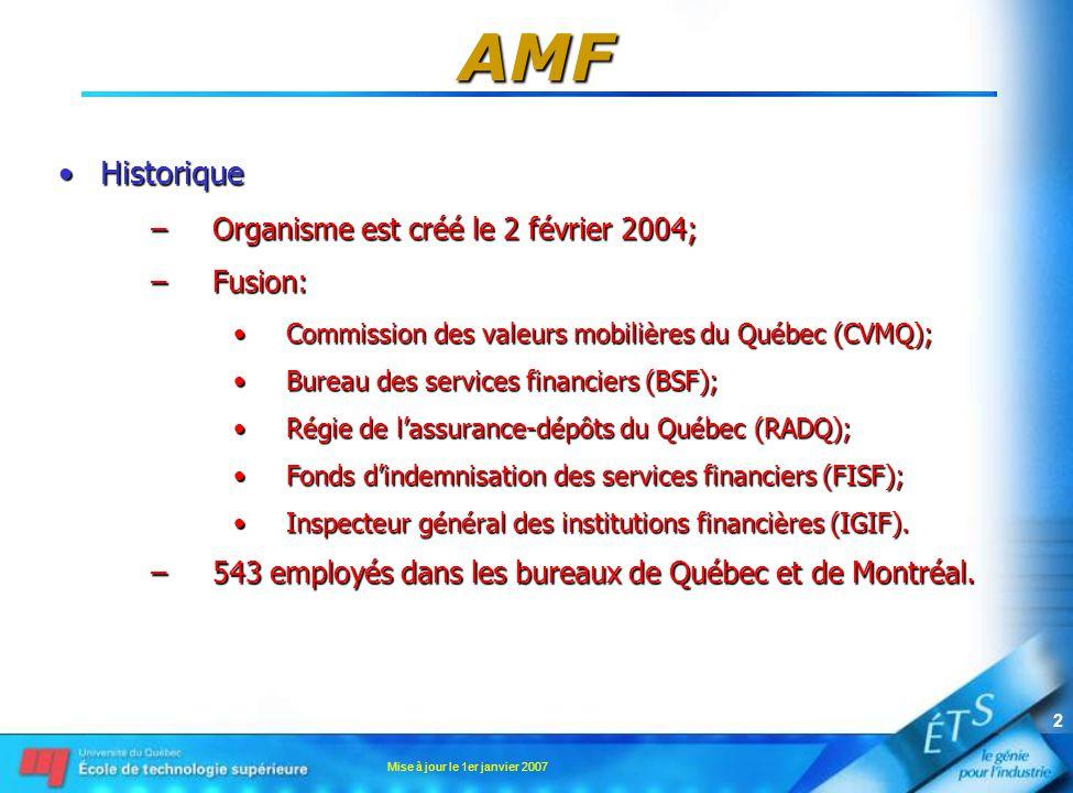 Mise à jour le 1er janvier 2007 2 AMF •Historique –Organisme est créé le 2 février 2004; –Fusion: •Commission des valeurs mobilières du Québec (CVMQ); •Bureau des services financiers (BSF); •Régie de l'assurance-dépôts du Québec (RADQ); •Fonds d'indemnisation des services financiers (FISF); •Inspecteur général des institutions financières (IGIF).