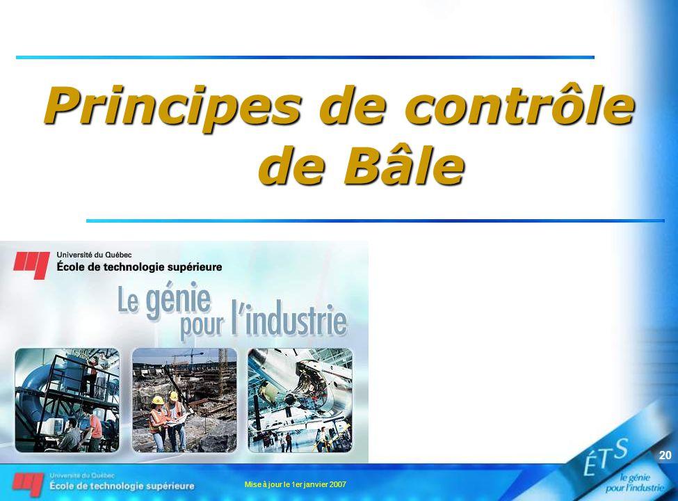 Mise à jour le 1er janvier 2007 20 Principes de contrôle de Bâle