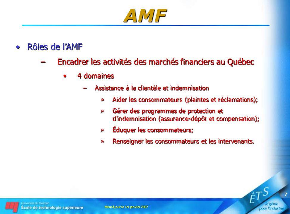 Mise à jour le 1er janvier 2007 7 AMF •Rôles de l'AMF –Encadrer les activités des marchés financiers au Québec •4 domaines –Assistance à la clientèle et indemnisation »Aider les consommateurs (plaintes et réclamations); »Gérer des programmes de protection et d'indemnisation (assurance-dépôt et compensation); »Éduquer les consommateurs; »Renseigner les consommateurs et les intervenants.