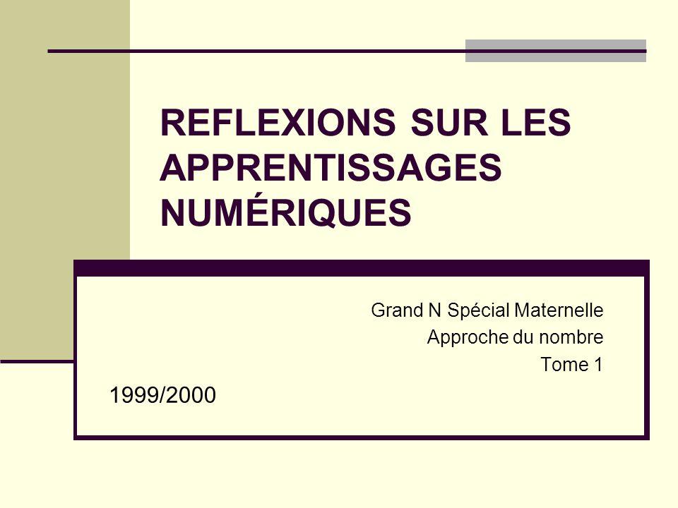 REFLEXIONS SUR LES APPRENTISSAGES NUMÉRIQUES Grand N Spécial Maternelle Approche du nombre Tome 1 1999/2000