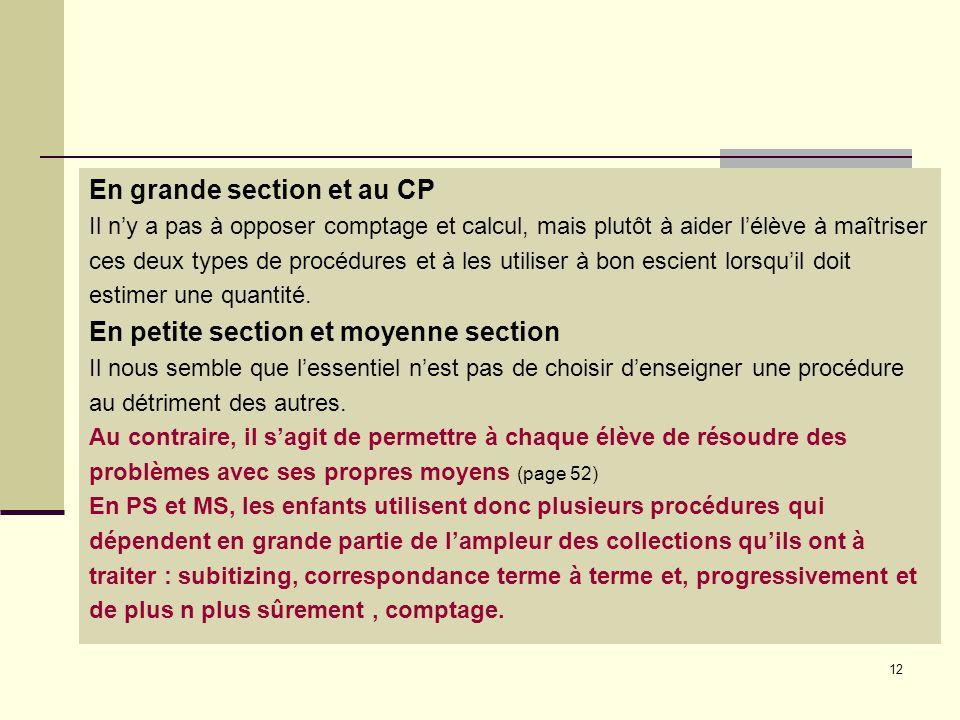 12 En grande section et au CP Il n'y a pas à opposer comptage et calcul, mais plutôt à aider l'élève à maîtriser ces deux types de procédures et à les