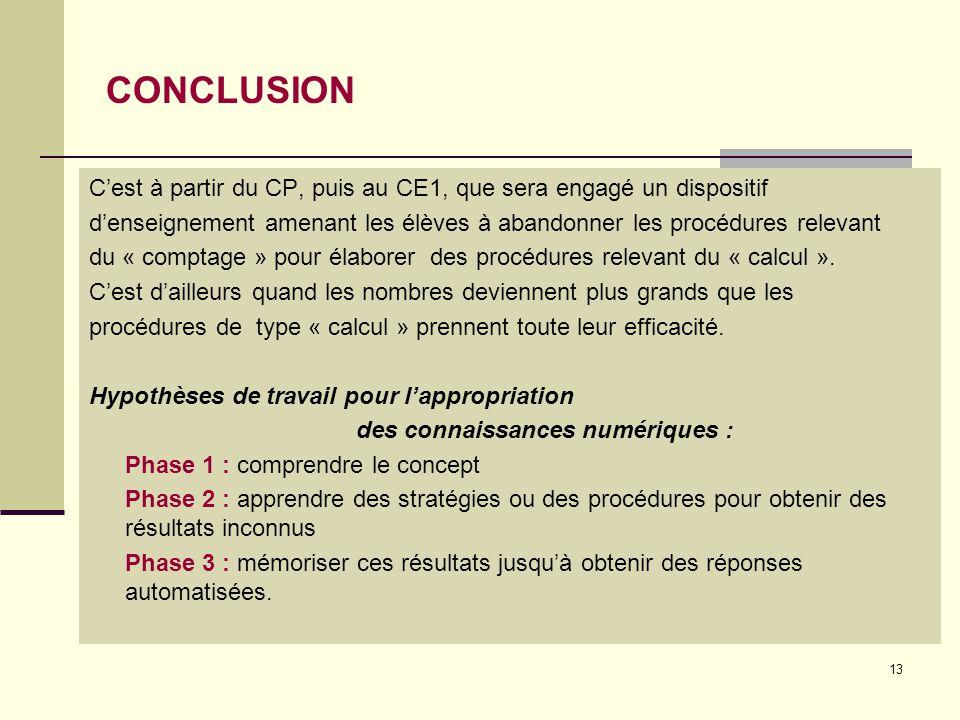 13 CONCLUSION C'est à partir du CP, puis au CE1, que sera engagé un dispositif d'enseignement amenant les élèves à abandonner les procédures relevant