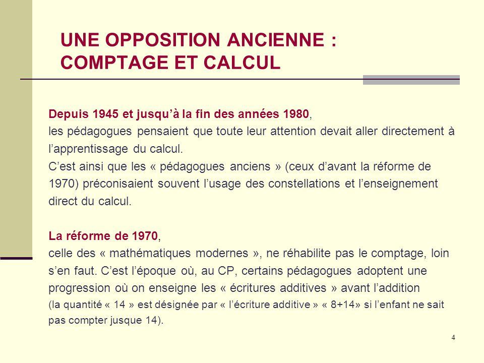 4 UNE OPPOSITION ANCIENNE : COMPTAGE ET CALCUL Depuis 1945 et jusqu'à la fin des années 1980, les pédagogues pensaient que toute leur attention devait