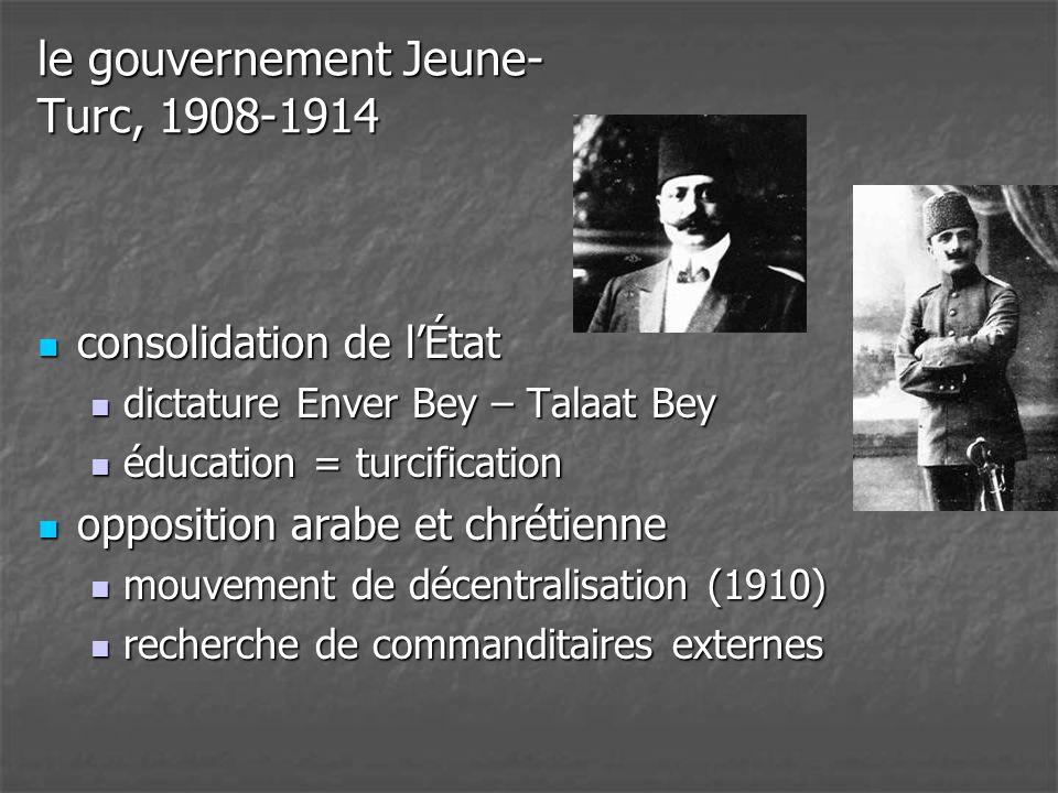 le gouvernement Jeune- Turc, 1908-1914  consolidation de l'État  dictature Enver Bey – Talaat Bey  éducation = turcification  opposition arabe et