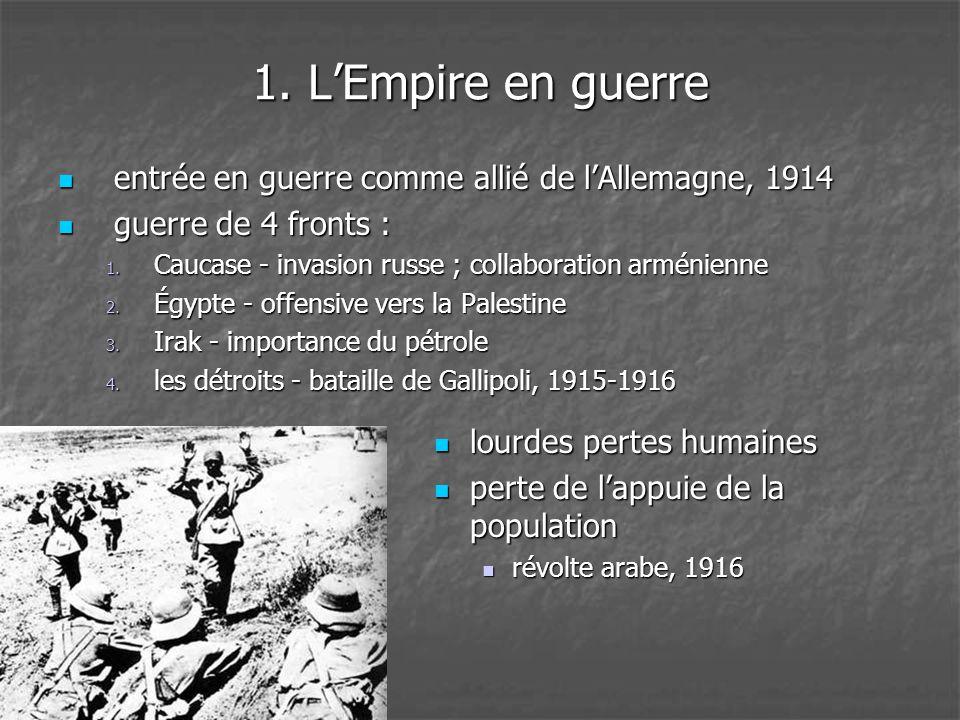 1. L'Empire en guerre  entrée en guerre comme allié de l'Allemagne, 1914  guerre de 4 fronts : 1. Caucase - invasion russe ; collaboration arménienn