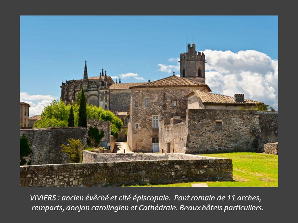 JOYEUSE : avec l' Hôtel Montravel, l' église Saint Pierre, le château des Ducs (Mairie) le collège des Oratoriens.