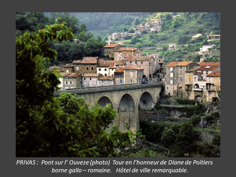PRIVAS : Pont sur l' Ouveze (photo) Tour en l'honneur de Diane de Poitiers borne gallo – romaine.