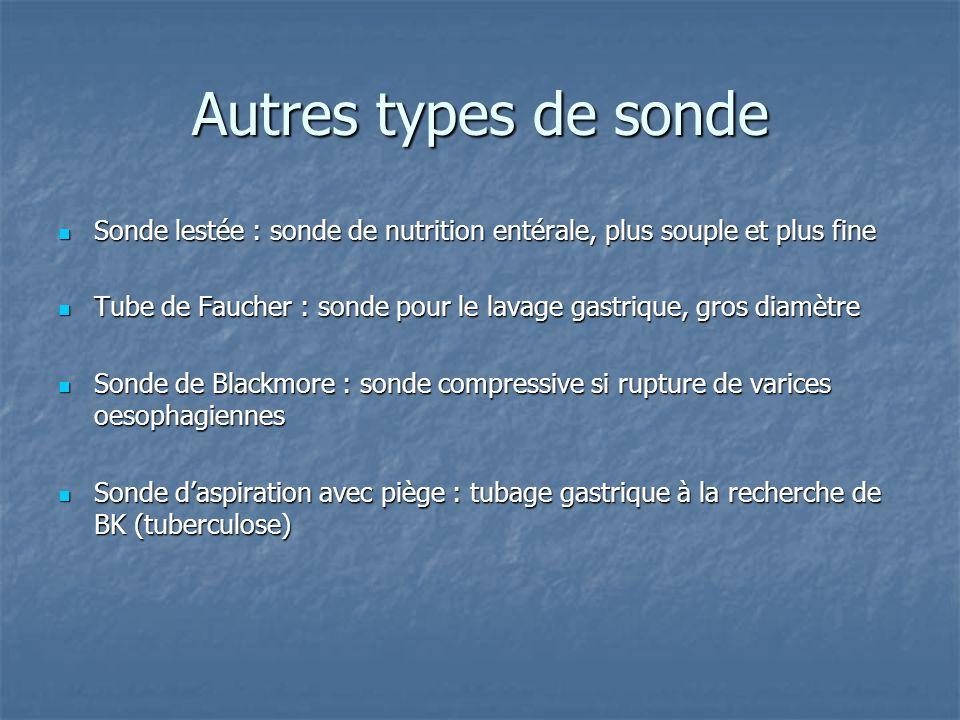 Autres types de sonde  Sonde lestée : sonde de nutrition entérale, plus souple et plus fine  Tube de Faucher : sonde pour le lavage gastrique, gros