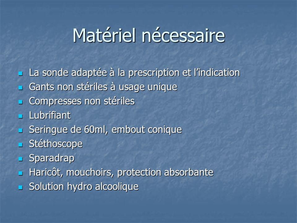 Matériel nécessaire  La sonde adaptée à la prescription et l'indication  Gants non stériles à usage unique  Compresses non stériles  Lubrifiant 