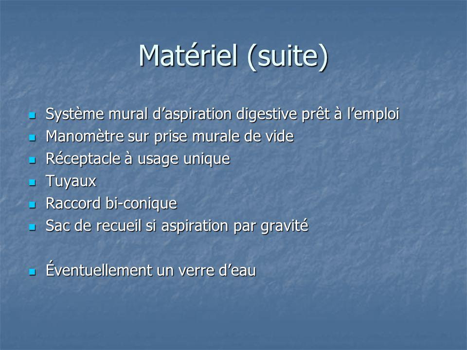 Matériel (suite)  Système mural d'aspiration digestive prêt à l'emploi  Manomètre sur prise murale de vide  Réceptacle à usage unique  Tuyaux  Ra