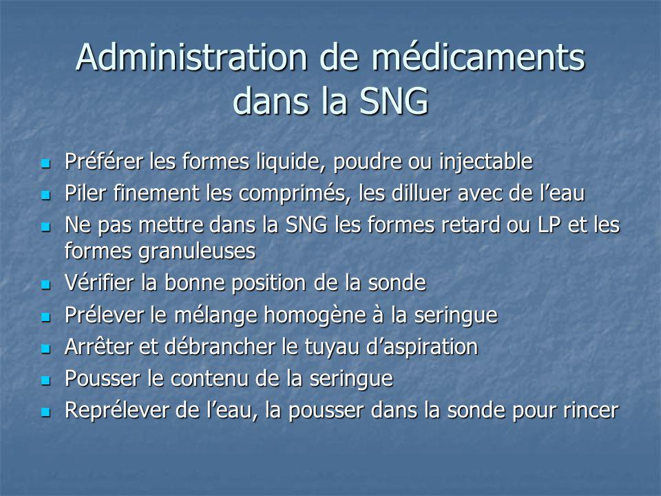 Administration de médicaments dans la SNG  Préférer les formes liquide, poudre ou injectable  Piler finement les comprimés, les dilluer avec de l'ea