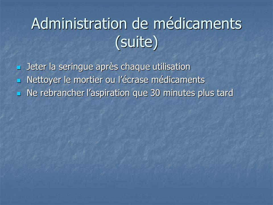 Administration de médicaments (suite)  Jeter la seringue après chaque utilisation  Nettoyer le mortier ou l'écrase médicaments  Ne rebrancher l'asp
