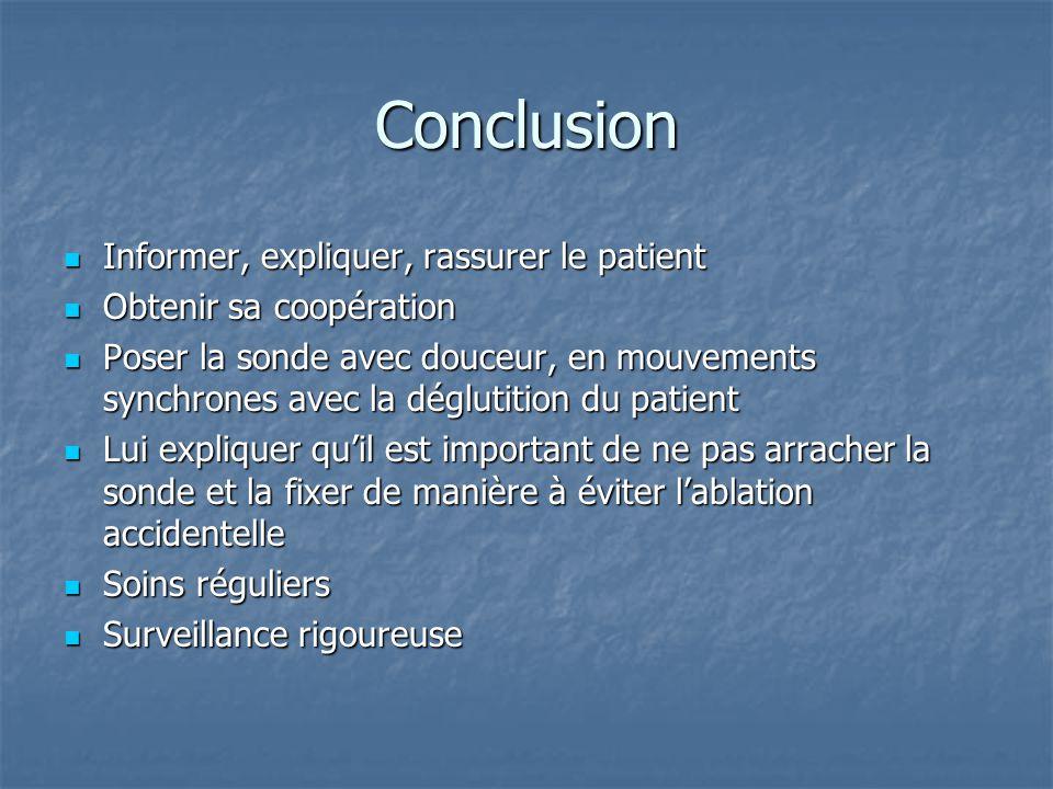 Conclusion  Informer, expliquer, rassurer le patient  Obtenir sa coopération  Poser la sonde avec douceur, en mouvements synchrones avec la dégluti