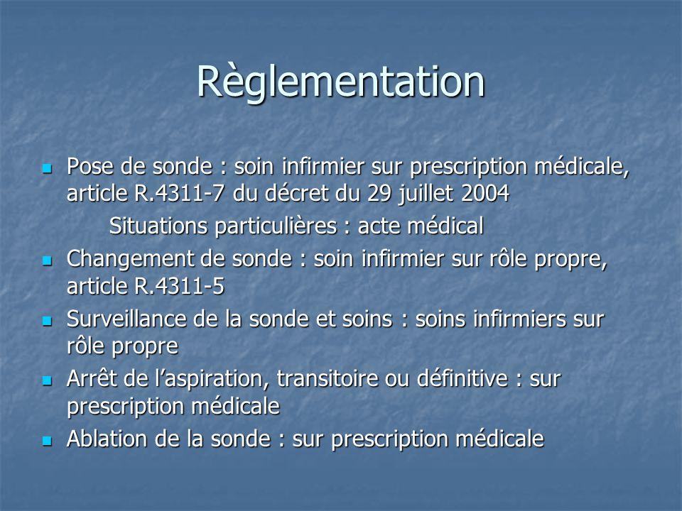 Règlementation  Pose de sonde : soin infirmier sur prescription médicale, article R.4311-7 du décret du 29 juillet 2004 Situations particulières : ac