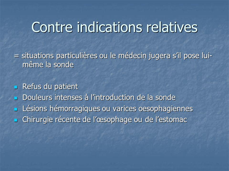 Contre indications relatives = situations particulières ou le médecin jugera s'il pose lui- même la sonde  Refus du patient  Douleurs intenses à l'i