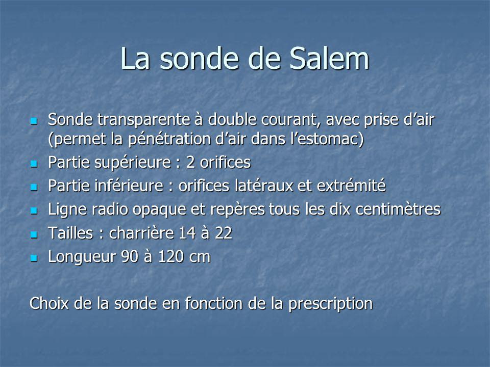 La sonde de Salem  Sonde transparente à double courant, avec prise d'air (permet la pénétration d'air dans l'estomac)  Partie supérieure : 2 orifice
