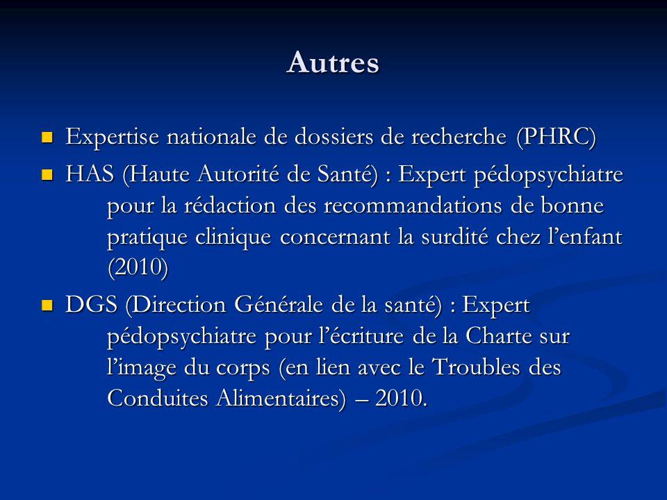 Autres  Expertise nationale de dossiers de recherche (PHRC)  HAS (Haute Autorité de Santé) : Expert pédopsychiatre pour la rédaction des recommandat