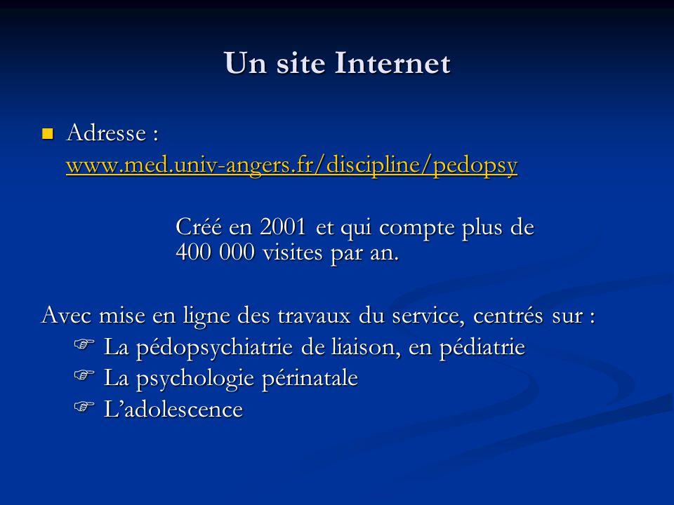 Un site Internet  Adresse : www.med.univ-angers.fr/discipline/pedopsy Créé en 2001 et qui compte plus de 400 000 visites par an. Avec mise en ligne d