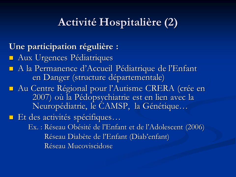 Activité Hospitalière (2) Une participation régulière :  Aux Urgences Pédiatriques  A la Permanence d'Accueil Pédiatrique de l'Enfant en Danger (str