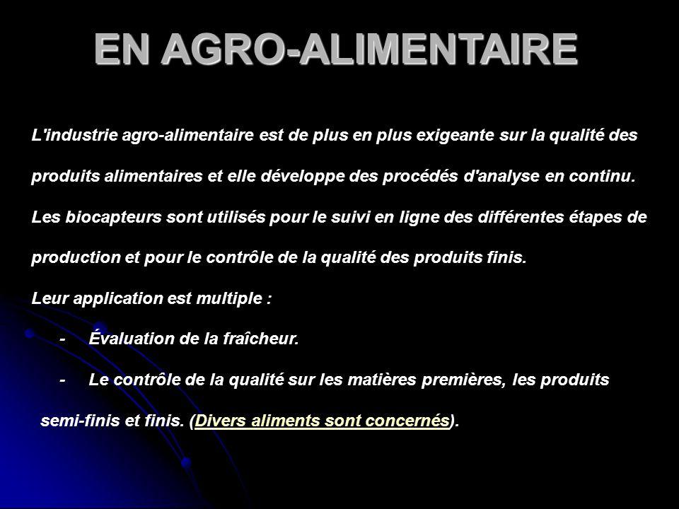 EN AGRO-ALIMENTAIRE L'industrie agro-alimentaire est de plus en plus exigeante sur la qualité des produits alimentaires et elle développe des procédés