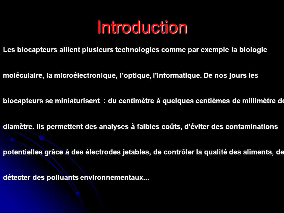 Introduction Les biocapteurs allient plusieurs technologies comme par exemple la biologie moléculaire, la microélectronique, l'optique, l'informatique