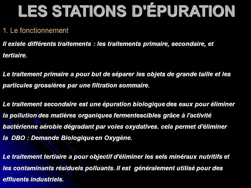 LES STATIONS D'ÉPURATION 1. Le fonctionnement Il existe différents traitements : les traitements primaire, secondaire, et tertiaire. Le traitement pri