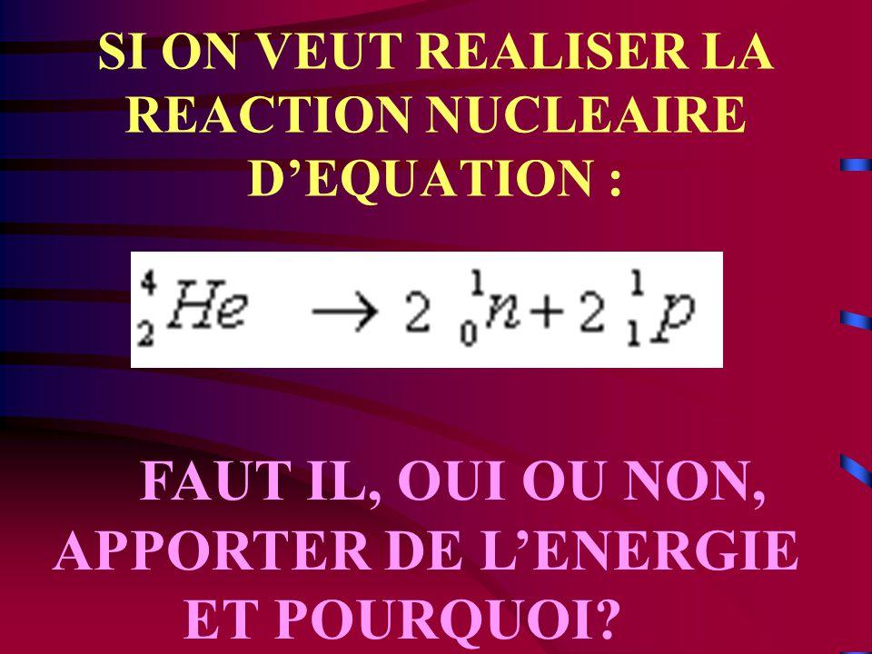 QUELLE QUESTION PEUT ON SE POSER? Qu'est devenue la masse manquante lors de la formation du noyau?
