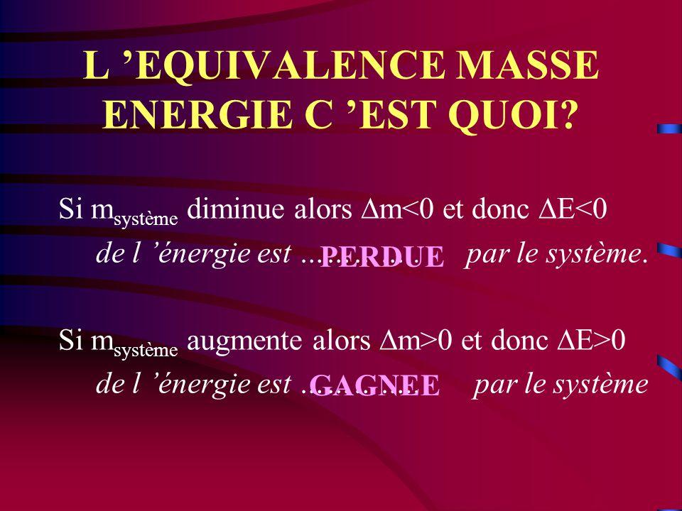 L 'HYPOTHESE HARDIE D 'EINSTEIN Un système, au repos, de masse m, possède une énergie dite énergie de masse E donnée par : E = m. c 2 (J) (kg) ( m.s -