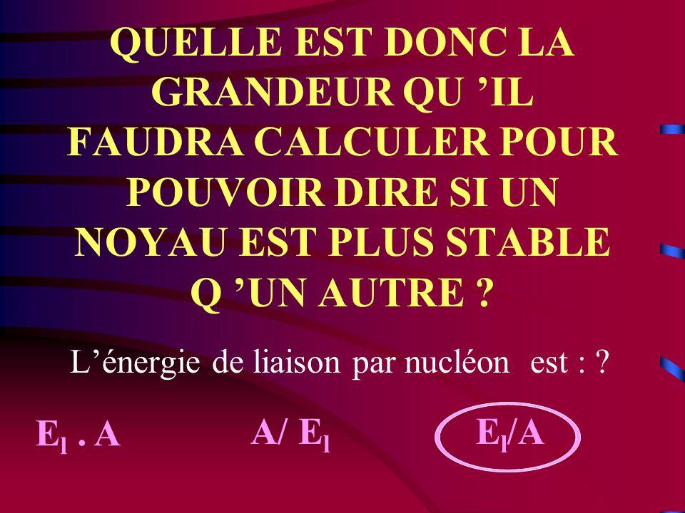 L 'ENIGME L 'énergie de liaison de l 'uranium 238 est 1802 MeV. Celle du fer 56 est 492 MeV. Quel est le noyau le plus stable? Argumentez votre répons