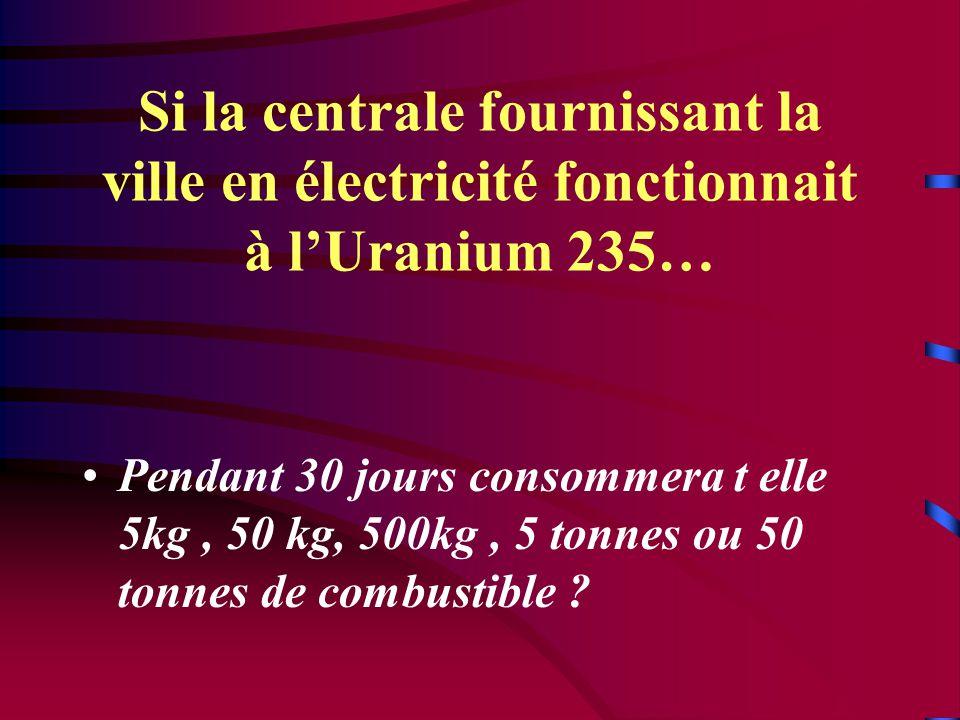 Si la centrale fournissant la ville en électricité fonctionnait à l'Uranium 235… •Pendant 30 jours consommera t elle 5kg, 50 kg, 500kg, 5 tonnes ou 50 tonnes de combustible ?