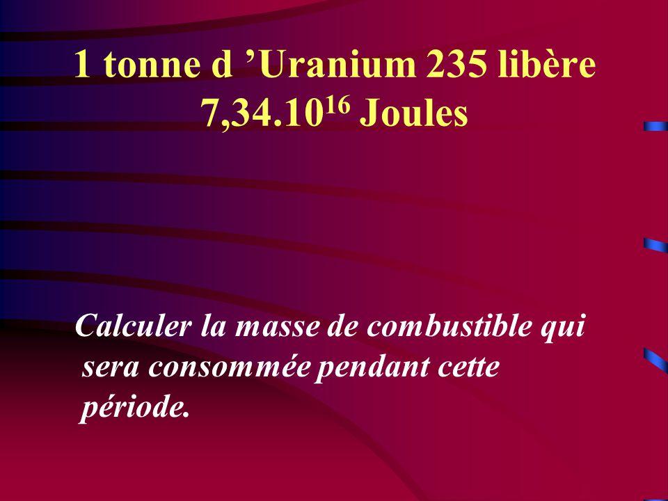1 tonne d 'Uranium 235 libère 7,34.10 16 Joules Calculer la masse de combustible qui sera consommée pendant cette période.
