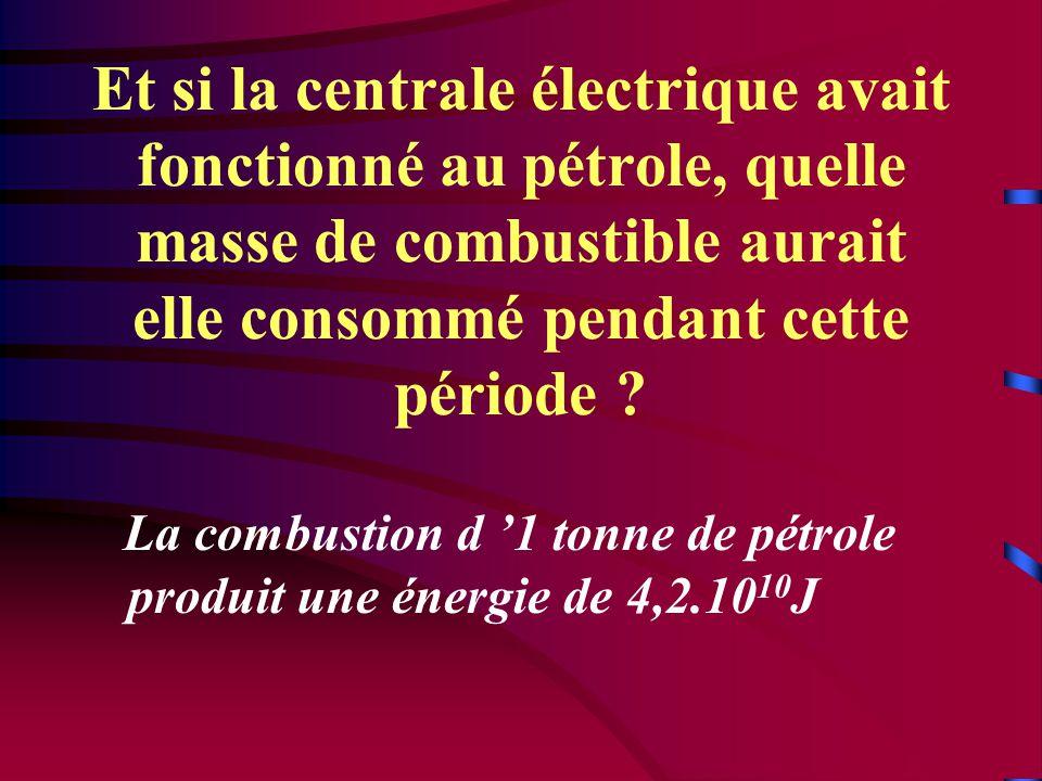 Et si la centrale électrique avait fonctionné au pétrole, quelle masse de combustible aurait elle consommé pendant cette période .