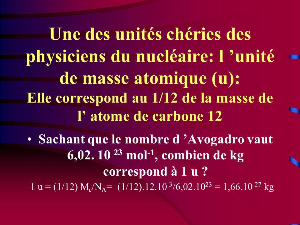 Une des unités chéries des physiciens du nucléaire: l 'unité de masse atomique (u): Elle correspond au 1/12 de la masse de l' atome de carbone 12 •Sachant que le nombre d 'Avogadro vaut 6,02.
