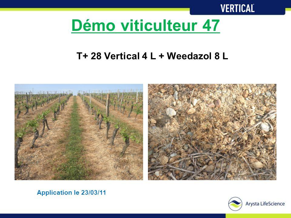 Démo viticulteur 47 T+ 28 Vertical 4 L + Weedazol 8 L Application le 23/03/11