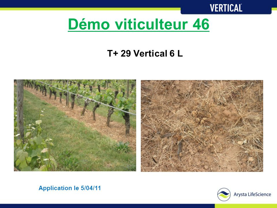 Démo viticulteur 46 T+ 29 Vertical 6 L Application le 5/04/11