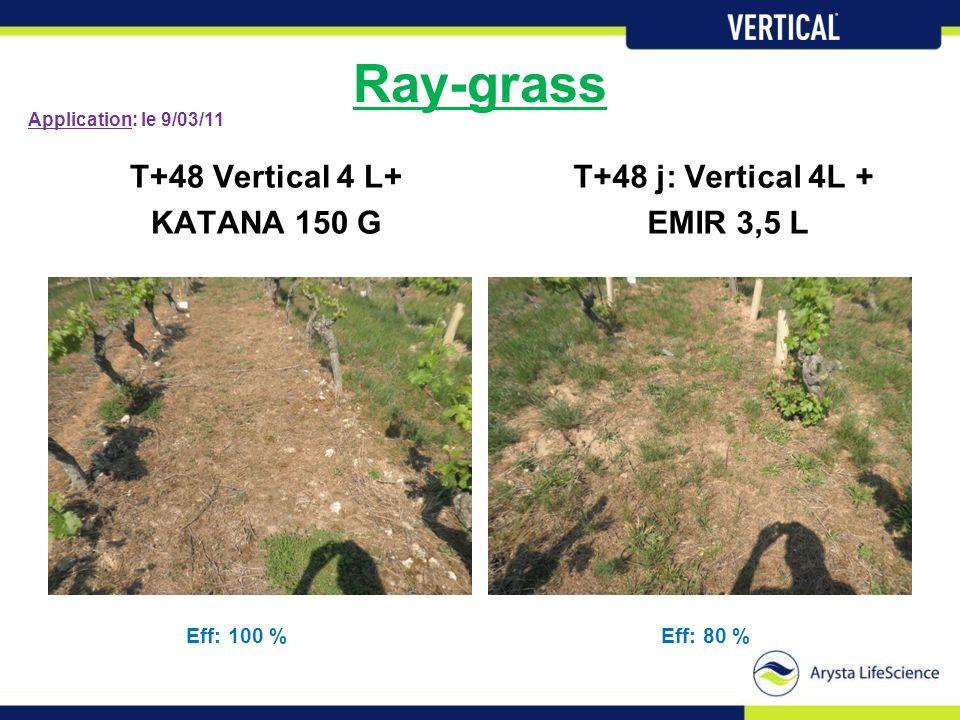 Ray-grass T+48 Vertical 4 L+ KATANA 150 G T+48 j: Vertical 4L + EMIR 3,5 L Eff: 100 %Eff: 80 % Application: le 9/03/11