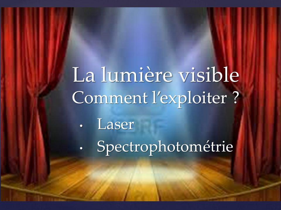 { • Laser • Spectrophotométrie La lumière visible Comment l'exploiter ?