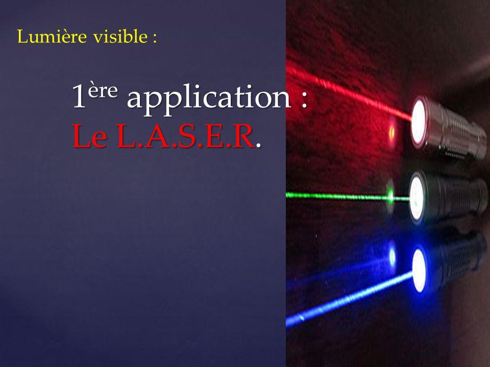 Lumière du Laser : Une lumière monochromatique « Light Amplification by Stimulated Emission of Radiation » en français : « amplification de la lumière par émission stimulée de rayonnement »