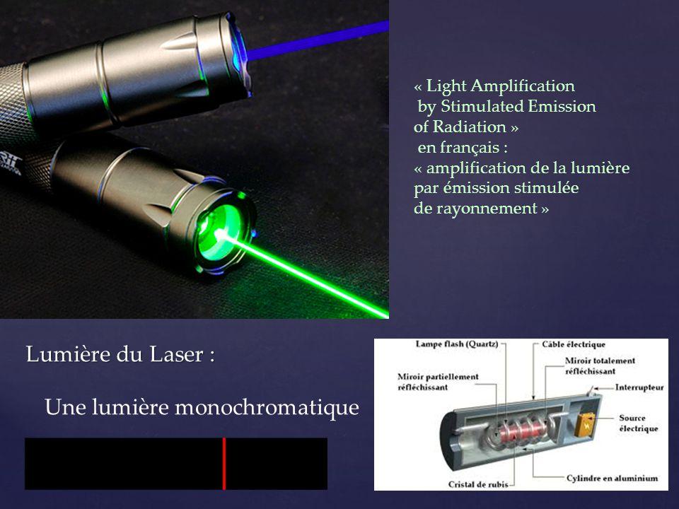Lumière du Laser : Une lumière monochromatique « Light Amplification by Stimulated Emission of Radiation » en français : « amplification de la lumière