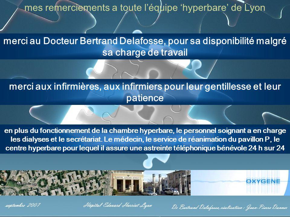 Dr Bertrand Delafosse, réalisation : Jean-Pierre Danner septembre 2007Hôpital Edouard Herriot Lyon mes remerciements a toute l'équipe 'hyperbare' de L