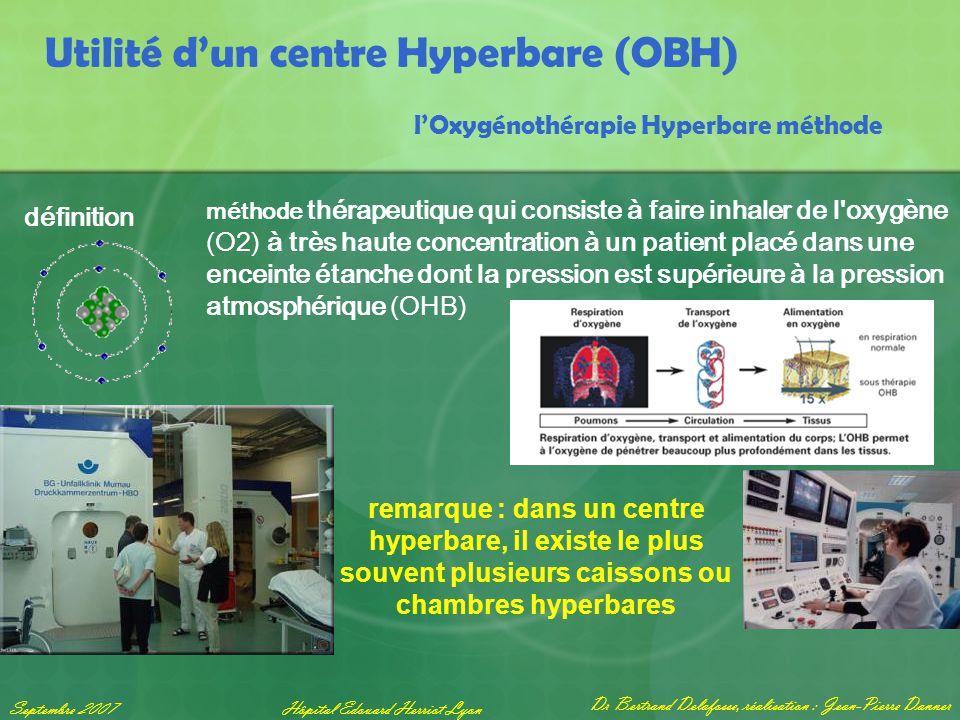 Dr Bertrand Delafosse, réalisation : Jean-Pierre Danner Septembre 2007Hôpital Edouard Herriot Lyon Utilité d'un centre Hyperbare (OBH) l'Oxygénothérap