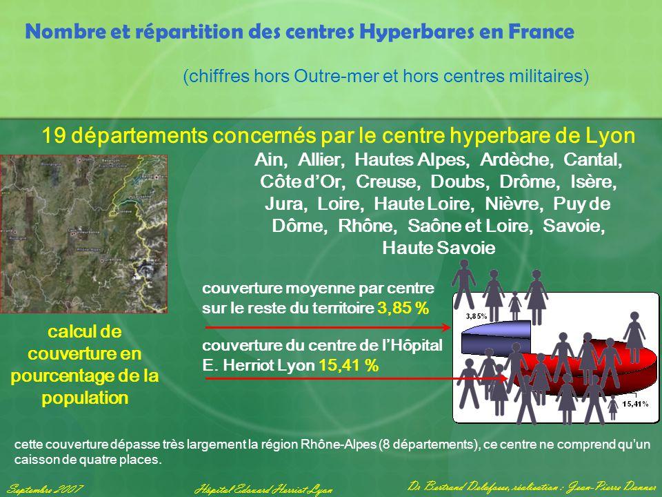 Dr Bertrand Delafosse, réalisation : Jean-Pierre Danner Septembre 2007Hôpital Edouard Herriot Lyon Nombre et répartition des centres Hyperbares en Fra