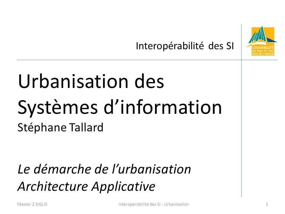 Interopérabilité des SI Urbanisation des Systèmes d'information Stéphane Tallard Le démarche de l'urbanisation Architecture Applicative Master 2 SIGLI