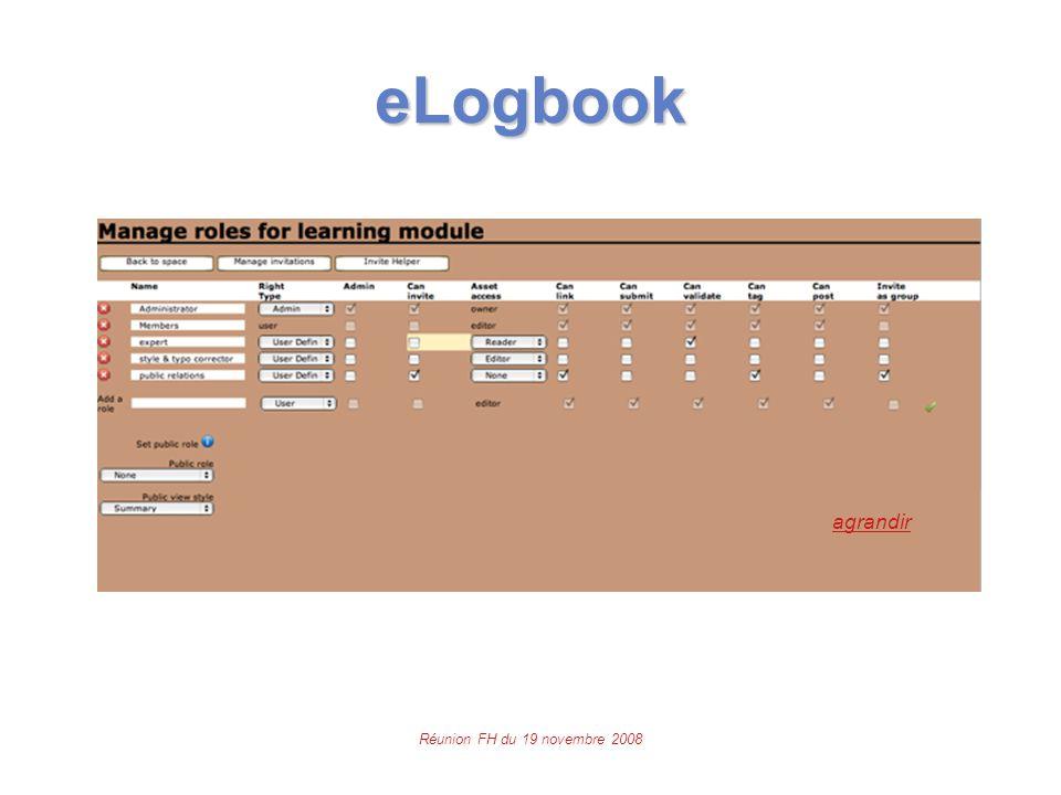 Réunion FH du 19 novembre 2008 eLogbook agrandir