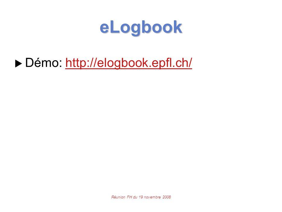 Réunion FH du 19 novembre 2008 eLogbook  Démo: http://elogbook.epfl.ch/http://elogbook.epfl.ch/