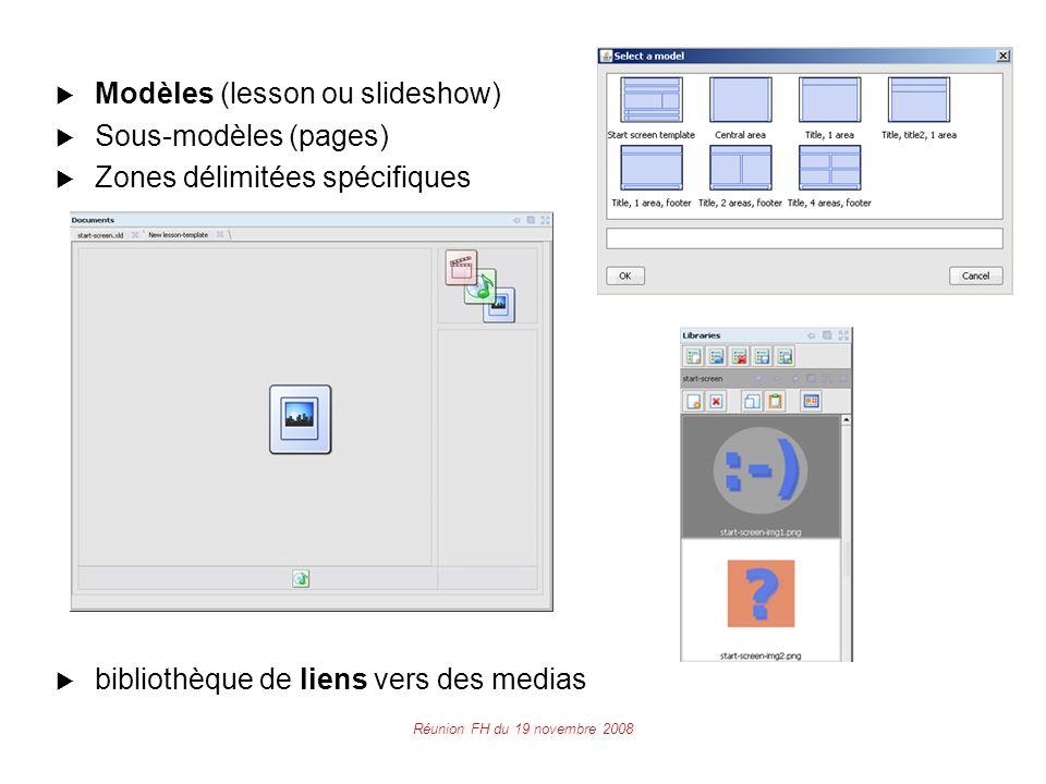 Réunion FH du 19 novembre 2008  Modèles (lesson ou slideshow)  Sous-modèles (pages)  Zones délimitées spécifiques  bibliothèque de liens vers des medias